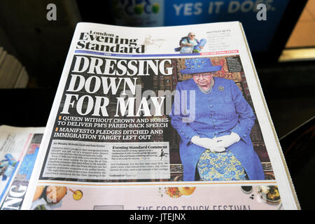Evening Standard front page newspaper Brexit headline British Queen Elizabeth II  'Dressing down for May'  21 June - Stock Photo