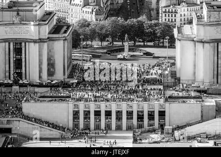 View from Eiffel Tower over Trocadero - Stock Photo