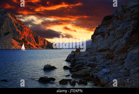 Fiery cloudy weather in the harbor of Marmaris, Turkey - Stock Photo