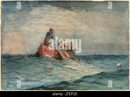 Winslow Homer   Hauling in the Nets - Stock Photo