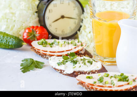 Sandwiches with ham and curd cheese for breakfast. Beautiful breakfast concept. - Stock Photo