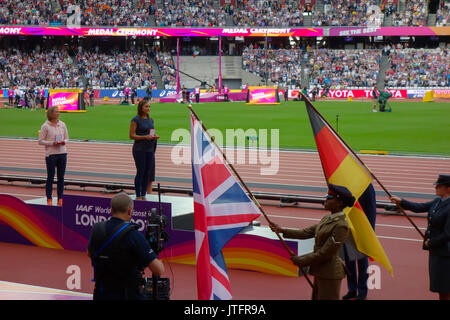 August 6th 2017, London Stadium, East London, England; IAAF World Championships, Jennifer Oeser of Germany and Jessica - Stock Photo