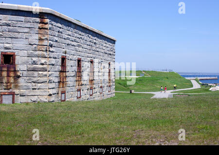 Fort Taber Civil War historical site park in New Bedford Massachusetts - Stock Photo