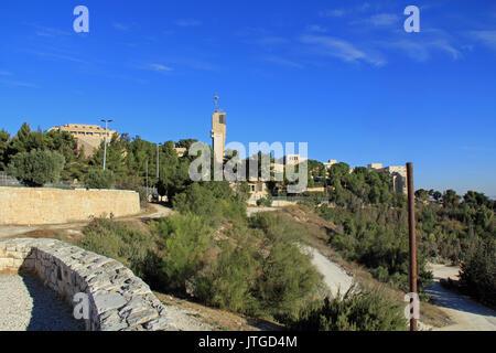 Hebrew University in Jerusalem on Mt. Scopus overlooking the Garden of Gethsemane and the Judean wilderness with - Stock Photo