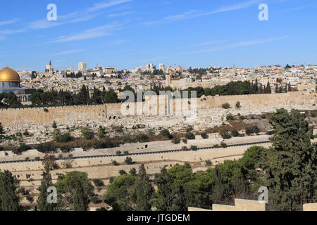 Dome of the Rock on the Temple Mount and Golden Gate as seen from the Mount of Olives in Israel. - Stock Photo