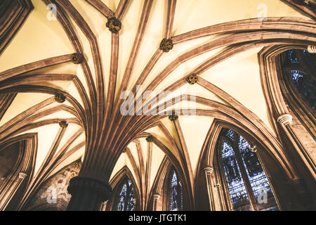 Interior photograph of Lichfield Cathedral, Staffordshire, England, UK - Stock Photo