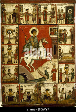 Unknow   Miracle of St George and the Dragon, with Scenes from his Life. Novgorod - Stock Photo