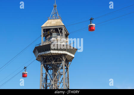 The red port cable in Barcelona.The official name is Transbordador Aeri del Port, but it is often called the 'Teleferico - Stock Photo