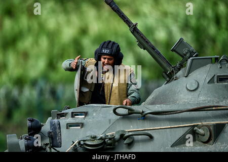 Primorsky Territory, Russia. 9th Aug, 2017. A marine of the Venezuelan National Bolivarian Armed Forces competes - Stock Photo