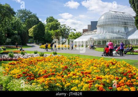 Belfast, Northern Ireland, UK. 9 August, 2107. UK weather: People in Botanic Gardens, Belfast enjoying the sunshine - Stock Photo