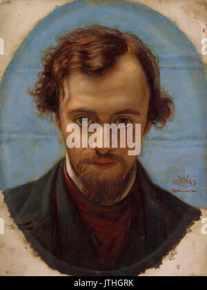 William Holman Hunt   Portrait of Dante Gabriel Rossetti at 22 years of Age - Stock Photo
