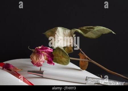 Journal, Pen & Dead Rose - Macro