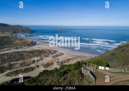 Lookout over Sandfly Bay, Otago Peninsula, Dunedin, Otago, South Island, New Zealand - drone aerial - Stock Photo