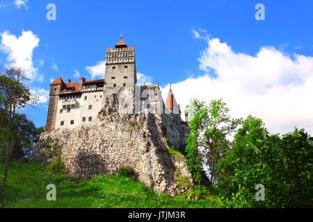 Medieval Castle of Bran (known as the Dracula's castle), Brasov, Transylvania, Romania - Stock Photo