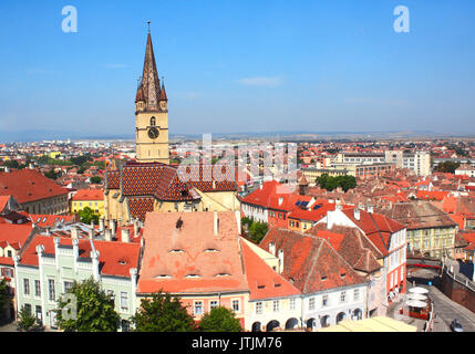 Top view from Council Tower on Lutheran cathedral tower, Bridge of Lies and houses on Small Square (Piata Mica), - Stock Photo