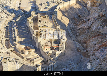 Model of ancient Jerusalem at the time of the second temple.  Focusing on the Lower City or City of David, Kidron - Stock Photo