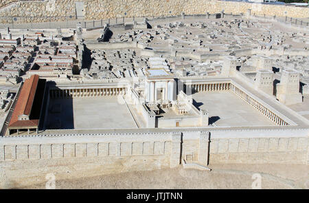 Model of ancient Jerusalem at the time of the second temple.  Including the Temple on the Temple Mount, The Royal - Stock Photo