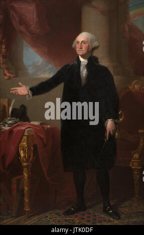 George Washington (1732-1799), first President of the United States, in the 1796 Lansdowne Portrait oil painting - Stock Photo