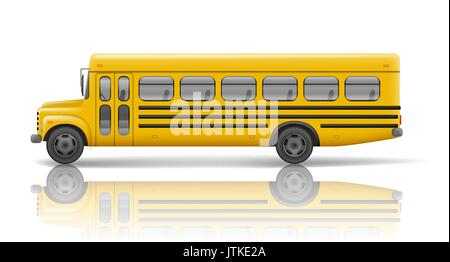 Yellow school bus. Transportation and vehicle transport, travel automobile. Relistic school bus mockup. Vector illustration - Stock Photo