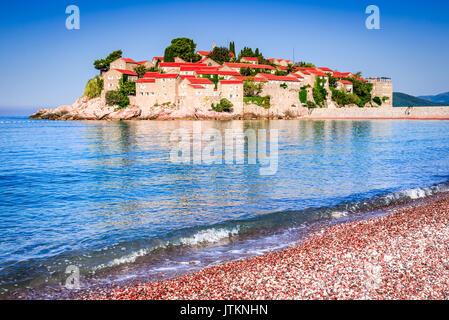 Sveti Stefan, Budva, Montenegro. View with fantastic small island on the Adriatic Sea coast. - Stock Photo