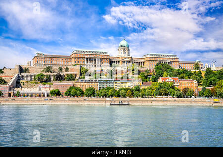 Budapest, Hungary - Buda Castle or Royal Palace of Buda, built on the southern Castle Hill in 1265AD and Danube - Stock Photo