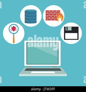 color background with computer laptop and technology elements in icons - Stock Photo