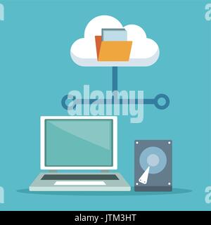 color background with laptop computer and hard drive with cloud storage - Stock Photo