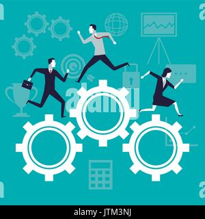 color background business growth with business people running in mechanism gears - Stock Photo