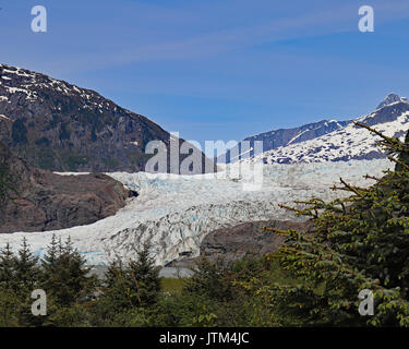 Mendenhall Glacier extends from the Juneau Icefields and ends in Mendenhall Lake - Stock Photo