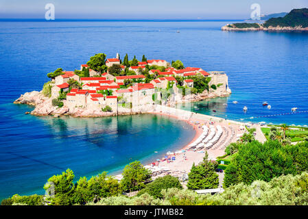 Sveti Stefan, Montenegro. View with fantastic small island, near Budva, Adriatic Sea coastline. - Stock Photo