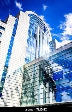 BRUXELLES, BELGIUM - 13 AUGUST 2014: View of the European Parliament building in Brussels, Bruxelles, Belgium. The European Parliament is the elected