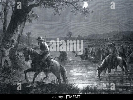 AMERICAN CIVIL WAR Robert E. Lee's army retreating across the Potomac at night after the battle of Antietam 17 September - Stock Photo