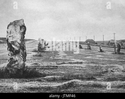 The standing stone avenue at Avebury near Marlborough in the 1940's - Stock Photo