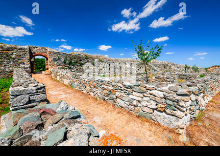 Histria, Romania - Ruins of ancient Greek colony city of Istros established by Milesian settlers. Dobruja, Black - Stock Photo