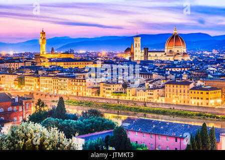 Florence, Tuscany - Night scenery with Duomo Santa Maria del Fiori, Renaissance architecture in Italy. - Stock Photo