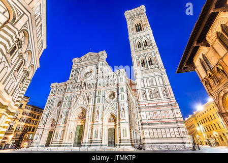 Florence, Tuscany - Night scenery with Piazza del Duomo and Catedrale Santa Maria del Fiori, Renaissance architecture - Stock Photo
