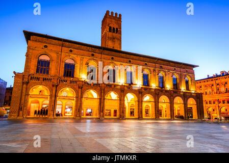 Bologna, Italy - Palazzo del Podesta in the red city of Emilia-Romagna. The edifice was built around 1200. - Stock Photo