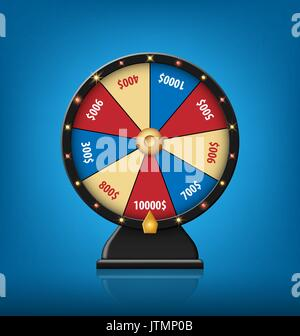Color Lucky Wheel Template. Realistic Wheel of Fortune isolated on blue background. Vector illustration - Stock Photo