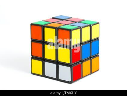 Rubik's cube on white - Stock Photo