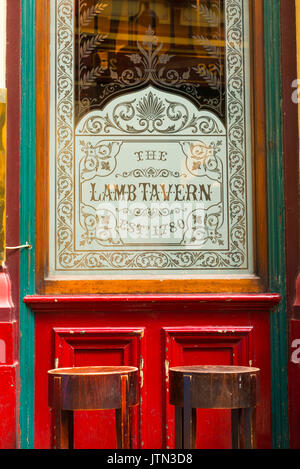 UK London City Leadenhall Market since 14th century was for cheese meat flowers detail door window The Lamb Tavern - Stock Photo