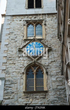 UK City London St Andrew Undershaft Church built 1532 clock tower blue face gold golden numerals Church of England - Stock Photo