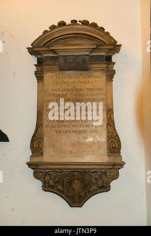 UK City St Andrew Undershaft Church built 1532 was 1147 memorial plaque Bridget 3rd daughter Sir Christopher Clitherow - Stock Photo