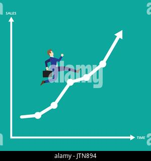 Business Concept As A Businessman Is Running On Growth Line Graph. He Enjoys The New Opportunity Growth. Higher - Stock Photo