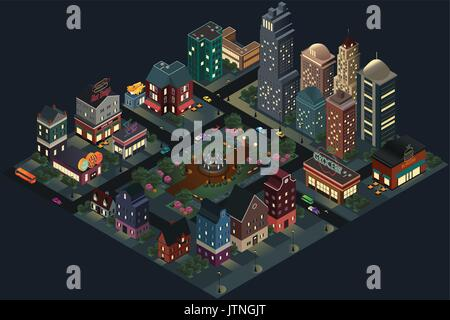 A vector illustration of Isometric Design of City Streets and Buildings at Night - Stock Photo