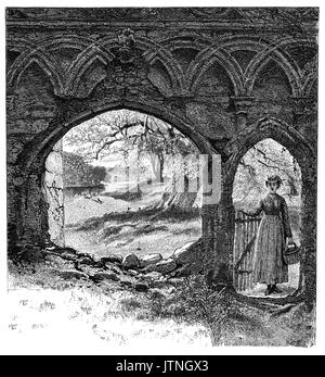 1870: A young woman at the gateway to Bolton Abbey, an estate in Wharfedale in North Yorkshire, England, takes its - Stock Photo