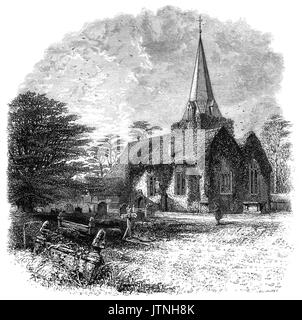 1870: The Churchyard and Norman Saint Giles church in Stoke Poges, a village in the South Bucks district of Buckinghamshire, - Stock Photo
