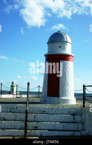 Laxey Lighthouse, Laxey, isle of Man - Stock Photo