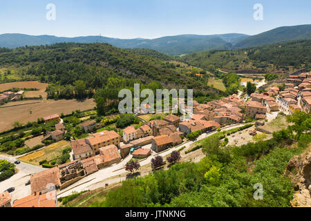 General view of spanish town.  Frias, Province of Burgos, Spain - Stock Photo