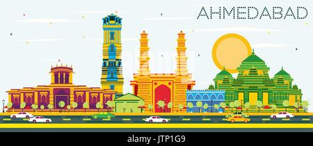 Ahmedabad Skyline with Color Buildings and Blue Sky. Vector Illustration. Business Travel and Tourism Concept with - Stock Photo