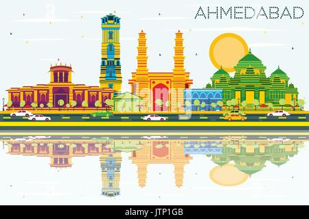 Ahmedabad Skyline with Color Buildings, Blue Sky and Reflections. Vector Illustration. Business Travel and Tourism - Stock Photo